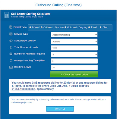 outbound calling staffing calculator (One time)
